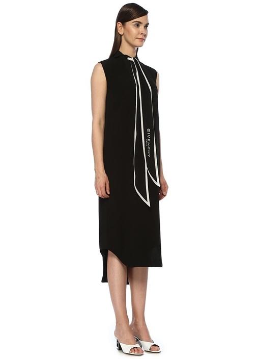 Siyah Logolu Fular Detaylı Midi Krep Elbise