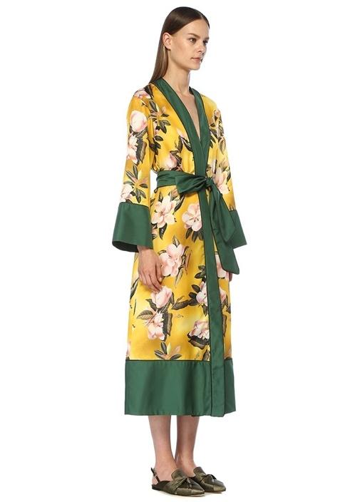 Nomos Sarı Çiçekli Kimono Formlu Midi Elbise