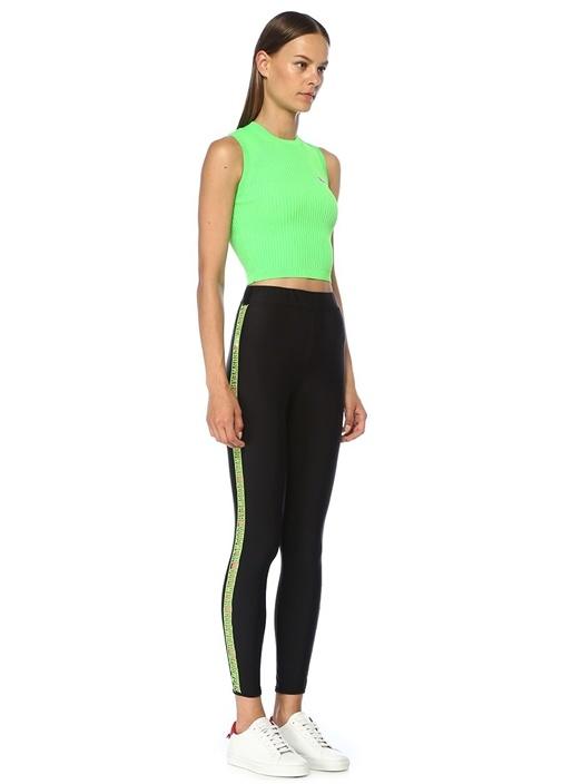 Neon Yeşil Logo Patch Detaylı Kolsuz Triko