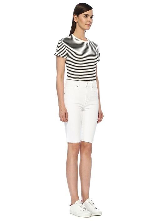 Le Vintage Beyaz Yüksek Bel Jean Bermuda