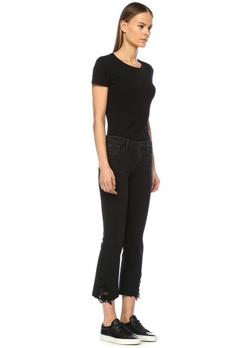 Selena Siyah Dantelli Crop Boot Jean Pantolon