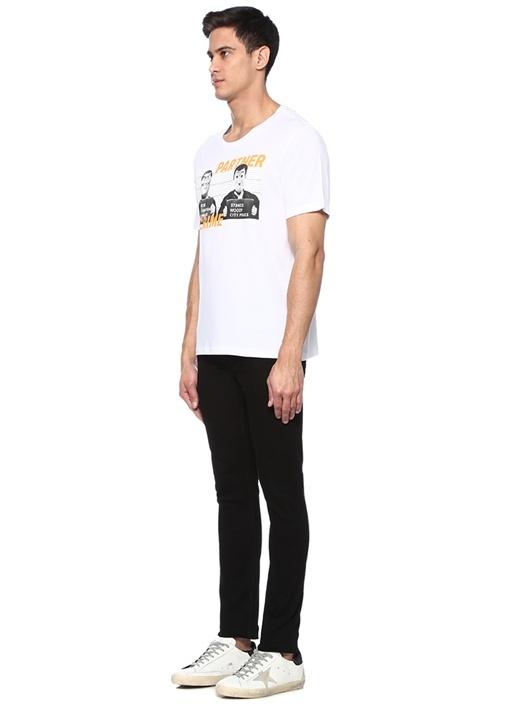 Partner Beyaz Bisiklet Yaka Figür Baskılı T-shirt