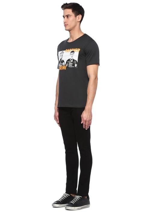 Partner Siyah Bisiklet Yaka Figür Baskılı T-shirt