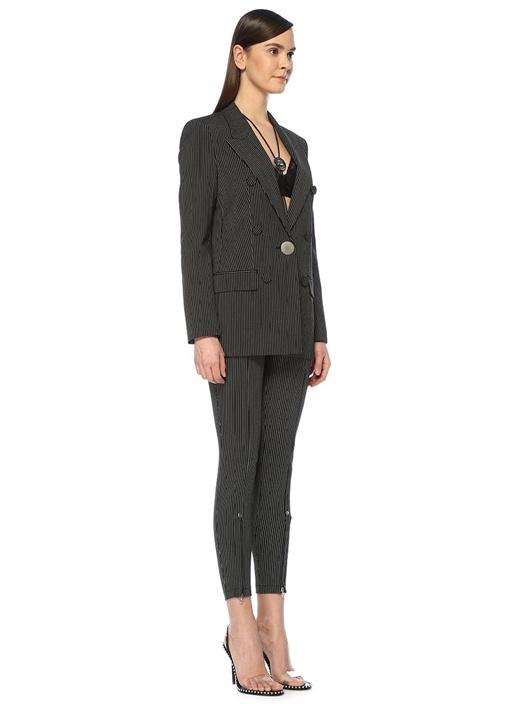 Siyah Beyaz Yüksek Bel Düğme Detaylı Pantolon