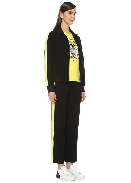 Siyah Sarı Şeritli Krep Eşofman Altı