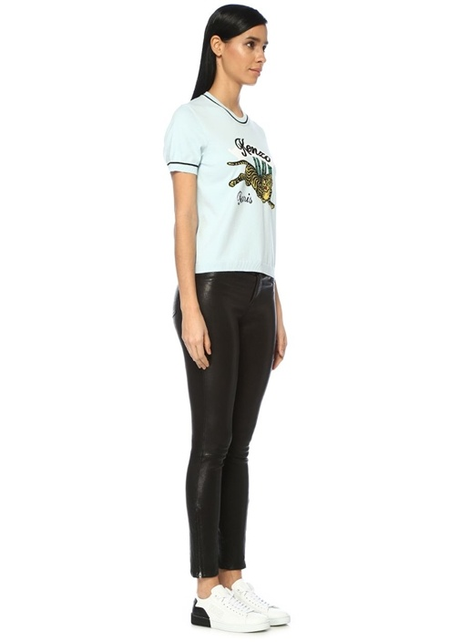 Bamboo Tiger Mavi Nakışlı Triko Dokulu T-shirt