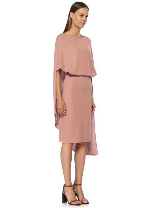 Pembe Pelerin Detaylı Midi Kalın Jarse Elbise