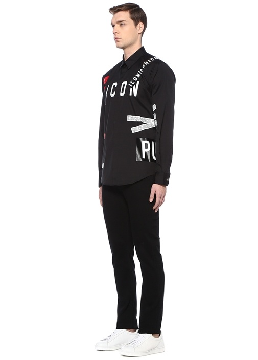 Siyah İngiliz Yaka Şerit Logolu Gömlek