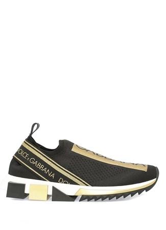Dolce&Gabbana Kadın Sorrento Siyah Gold Logo Baskılı Sneaker 36.5 EU