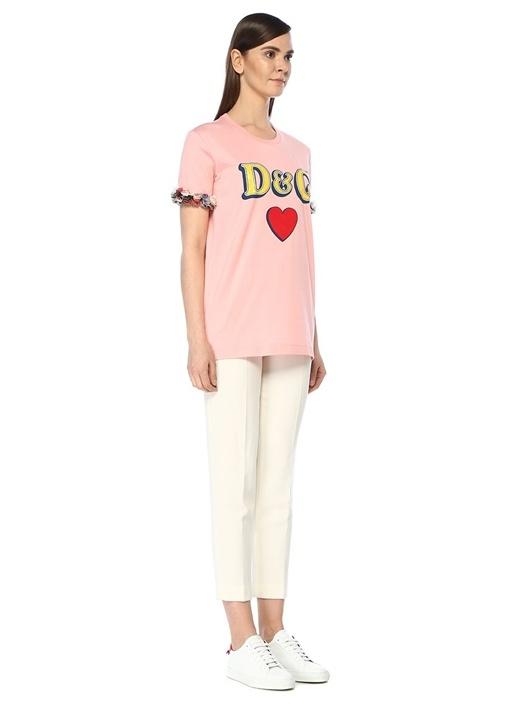Pembe Logo Baskılı Kolu Fırfır Detaylı T-shirt