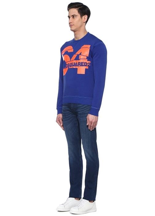 Lacivert Logo Baskılı Sweatshirt