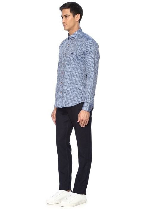 Mavi Comfort Fit Düğmeli Yaka Çiçekli Gömlek