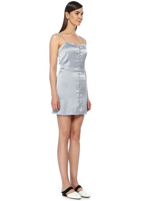 Mabel Mavi Önü Düğmeli Mini Saten Elbise