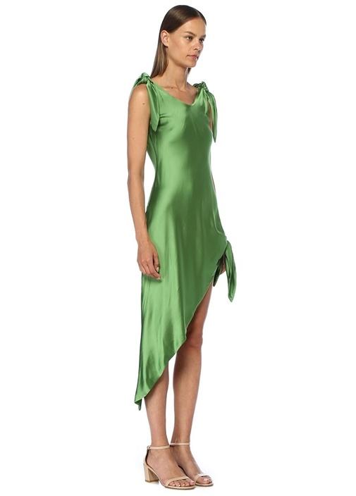 Dehlila Yeşil Asimetrik Kesim Saten Mini Elbise