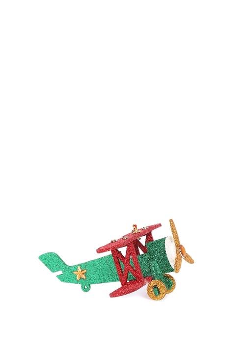 Uçak Formlu Simli Yılbaşı Süsü