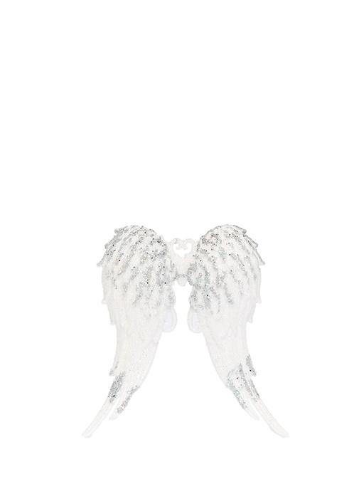 Beyaz Silver Simli Melek Kanatlı Yılbaşı Süsü