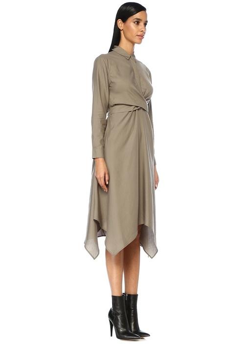 Flyn Haki Bağcıklı Asimetrik Midi Gömlek Elbise