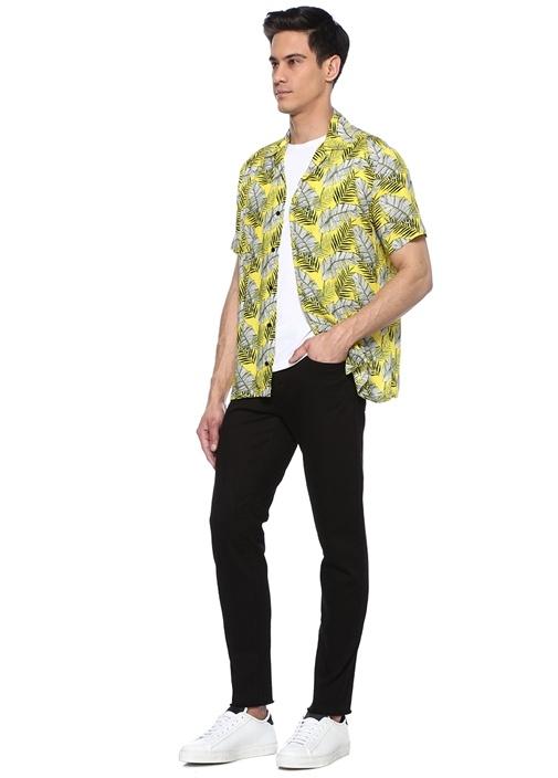 Sarı Kamp Yaka Tropikal Desenli Kısa Kollu Gömlek