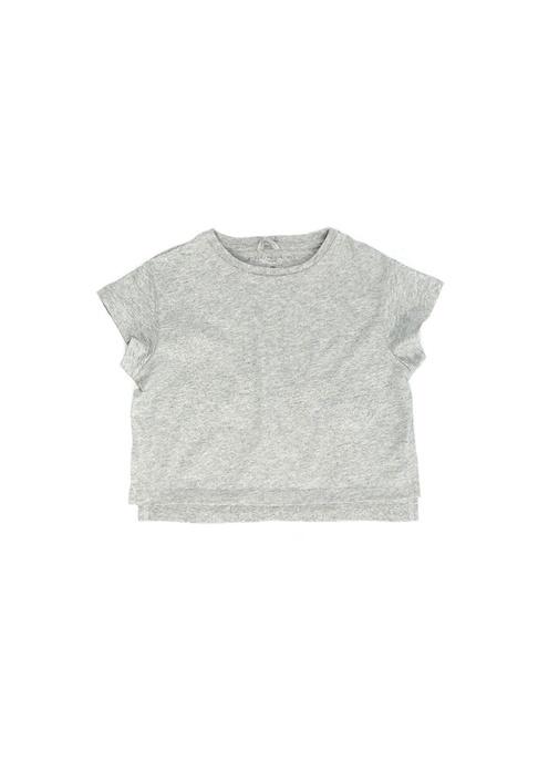 Gri Simli Yırtmaçlı Kız Çocuk T-shirt