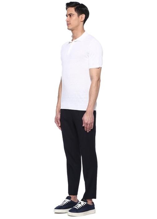Beyaz Sepet Dokulu Polo Yaka Keten T-shirt