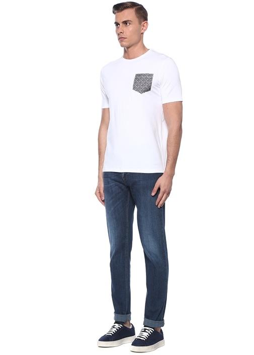 Beyaz Etnik Desen Detaylı T-shirt
