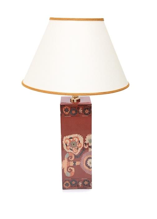 Bordo Ekru İkat Desenli Seramik Lamba