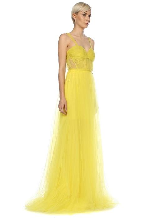 Feray Sarı Kalp Yaka Maksi Tül Abiye Elbise