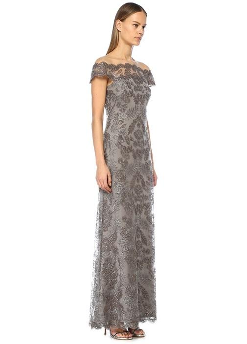 Maura Gri Kayık Yaka Metalik Nakışlı Maksi Elbise