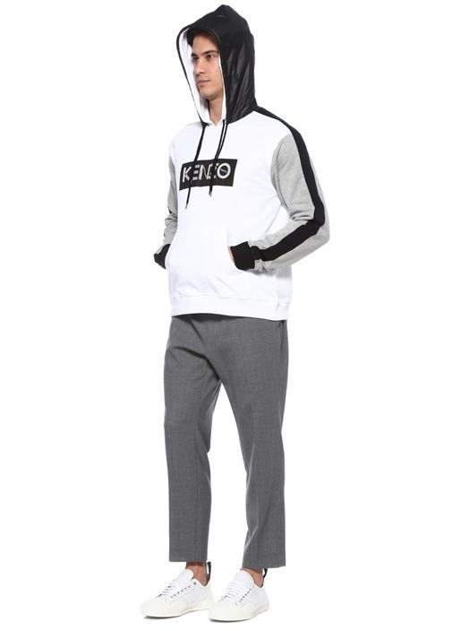 Beyaz Çift Kapüşonlu Logo Baskılı Sweatshirt