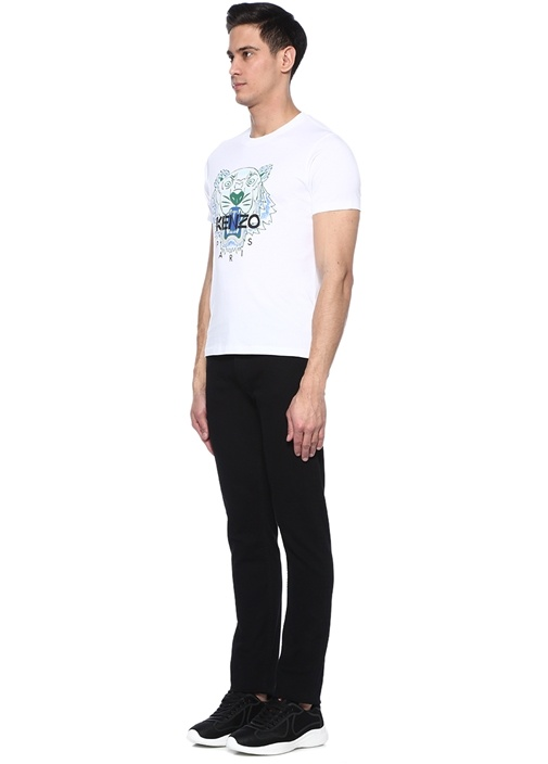 Tiger Beyaz Bisiklet Yaka Baskılı T-shirt