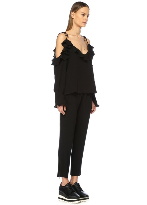 Tamara Siyah Yüksek Bel Streç Crop Pantolon