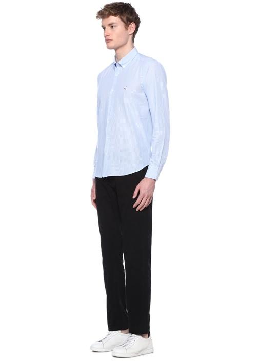 Comfort Fit Mavi Logolu Çizgili Poplin Gömlek