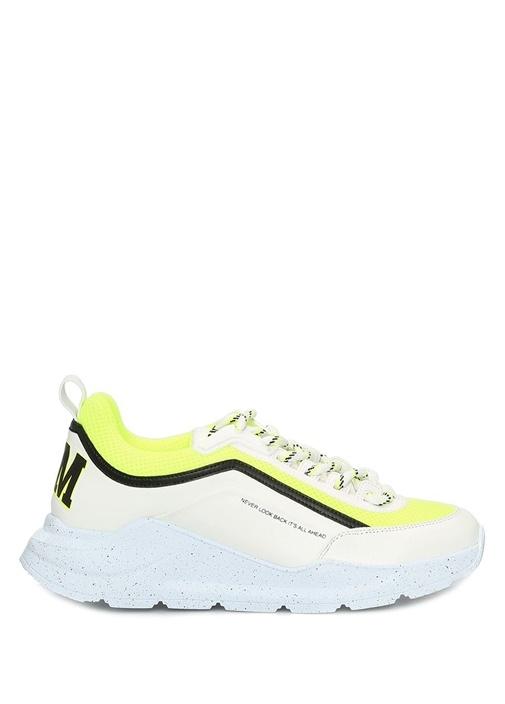 College Beyaz Neon Sarı Kadın Deri Sneaker