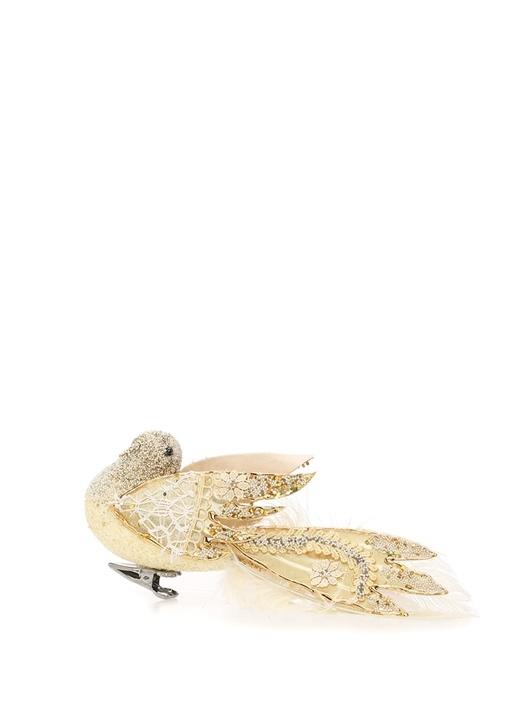 Gold Kuş Formlu Kanatları İşlemeli Yılbaşı Süsü
