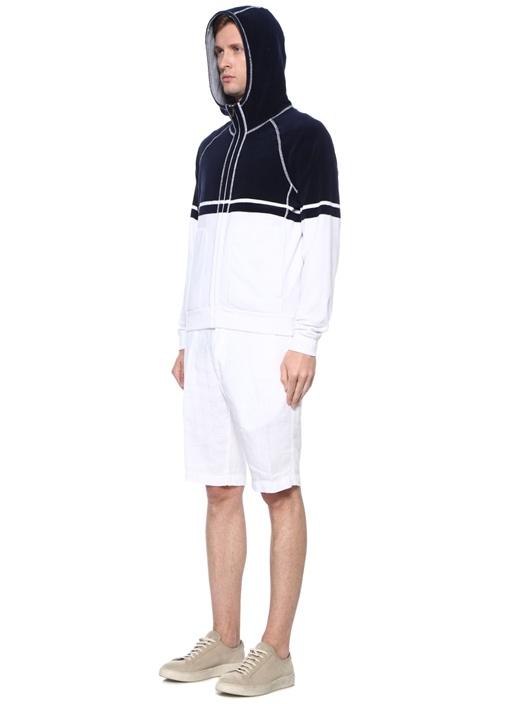 Lacivert Beyaz Dik Yaka Reglan Kollu Sweatshirt