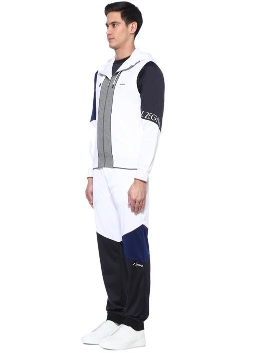 Beyaz Kapüşonlu Renk Garnili Logolu Sweatshirt