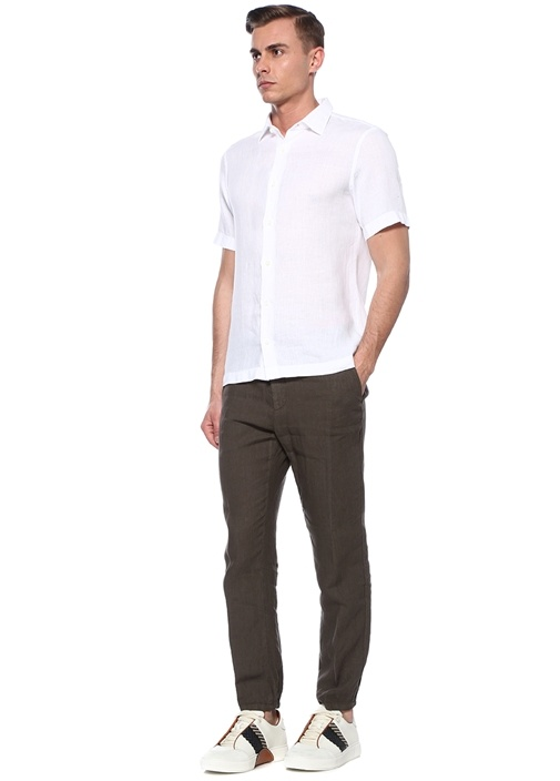 Beyaz İngiliz Yaka Keten Gömlek