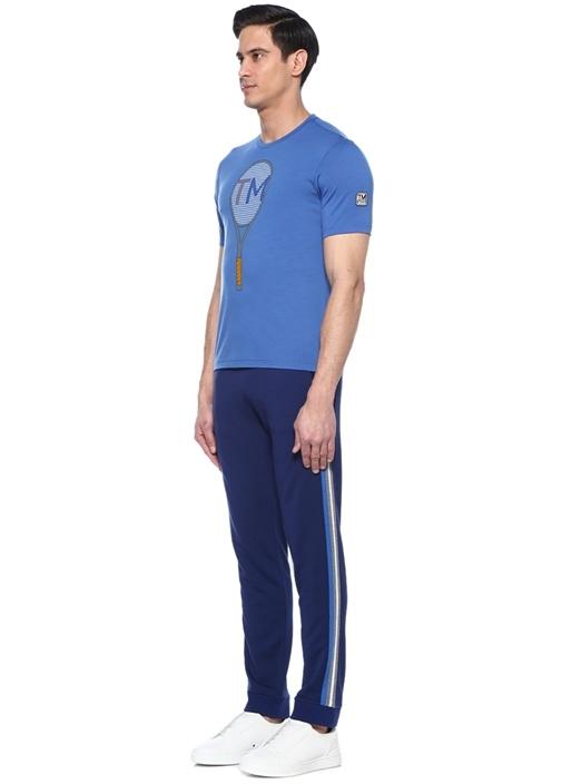 Lacivert Baskılı Techmerino Özellikli T-shirt