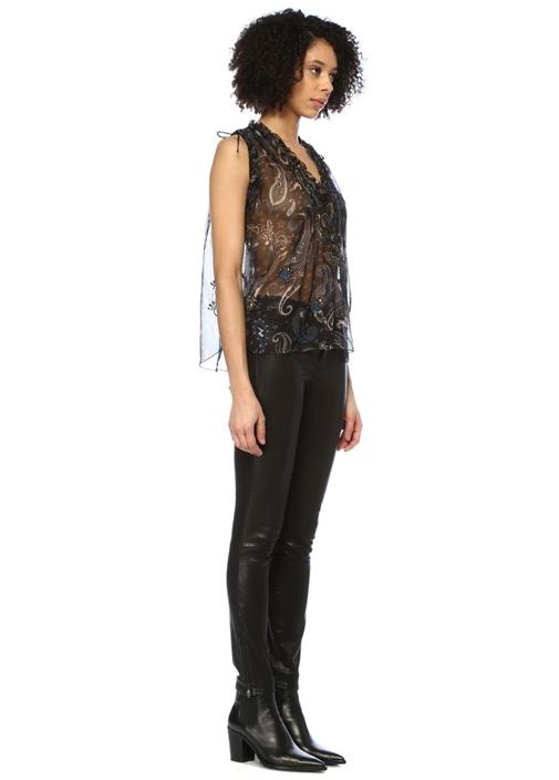 Thym Siyah V Yaka Şal Desenli Büzgülü Tül Bluz