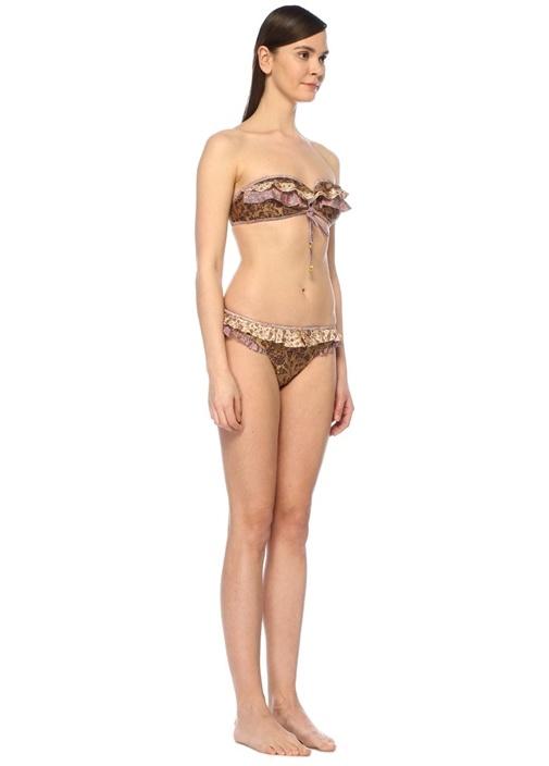 Juniper Straplez Çiçekli Fırfırlı Bikini Üstü