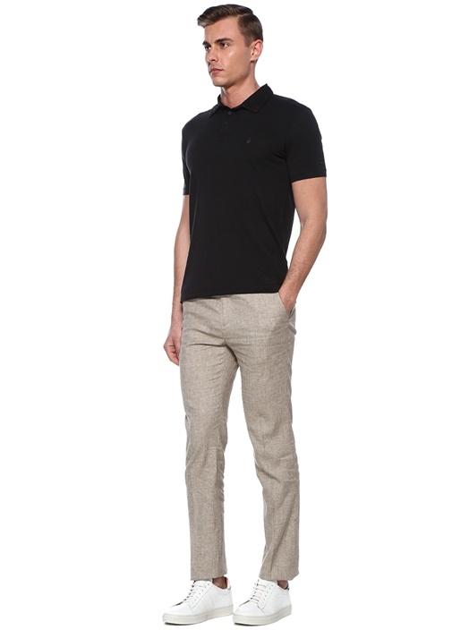 Siyah Polo Yaka İşleme Detaylı T-shirt