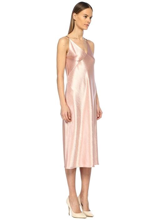 Somon V Yaka İnce Askılı Midi Saten Elbise