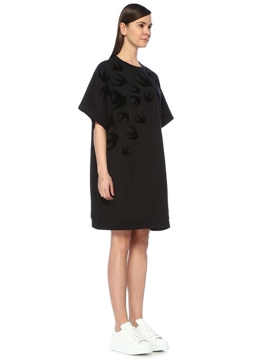 Swallow Swarm Siyah Sweatshirt Formlu Midi Elbise