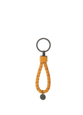 Bottega Veneta Erkek Sarı Örgü Dokulu Deri Anahtarlık uruncu Ürün Resmi