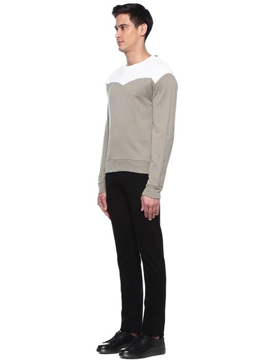 Beyaz Bisiklet Yaka Colorblocked Sweatshirt