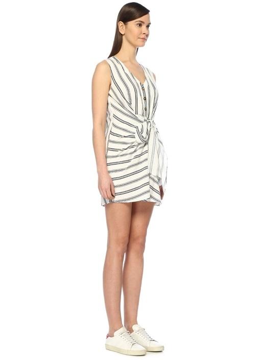 Zoe Beyaz V Yaka Çizgili Bağcıklı Mini Elbise