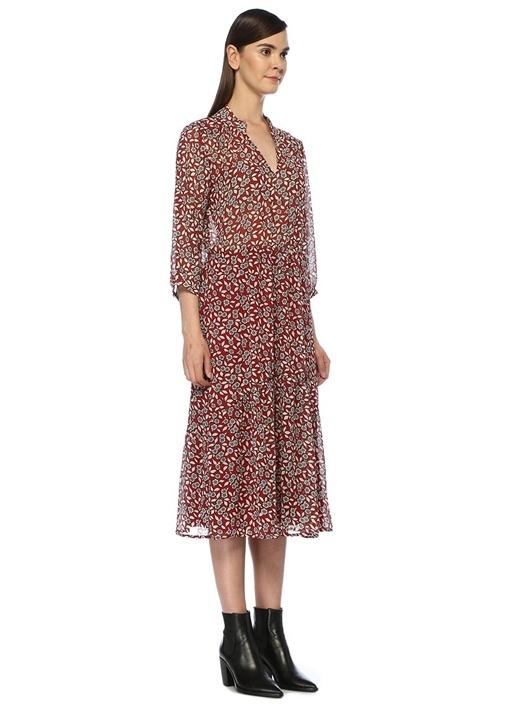 Bonnie Kırmızı V Yaka Çiçekli Midi Gömlek Elbise