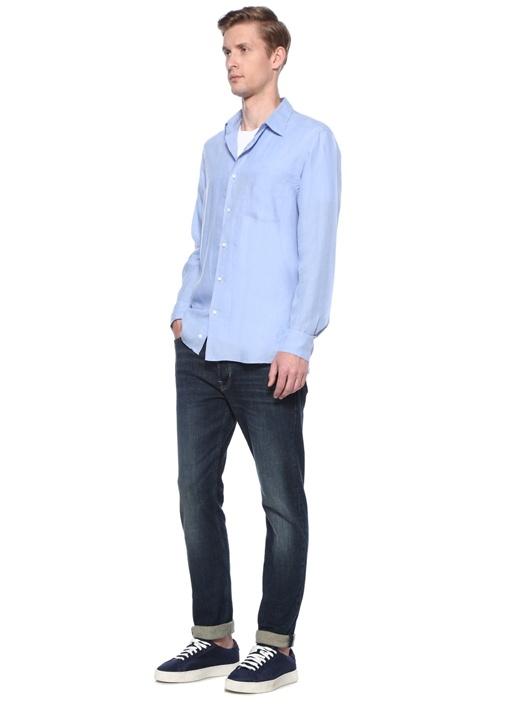 Mavi İngiliz Yaka Cepli Keten Gömlek
