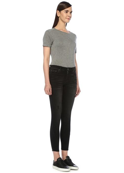 Stack Siyah Yıpratma Detaylı Skinny Jean Pantolon