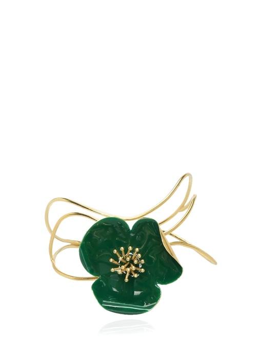 Gold Yeşil Çiçek Detaylı Kadın Kelepçe Bilezik